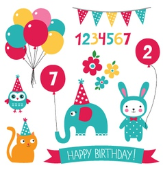 Kid birthday set vector