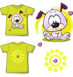 Cute puppy printed on shirt vector