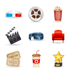 A detailed set of realistic cinema icons vector