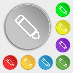 Pen icon sign symbol on eight flat buttons vector