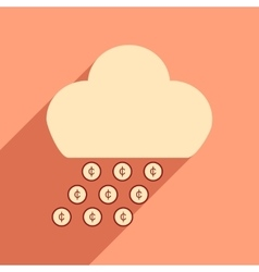 Flat with shadow icon cloud and rain of coins vector