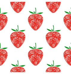 Pattern with decorative ornamental strawberries vector