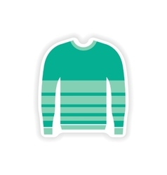 Stylish paper sticker on white background sweater vector