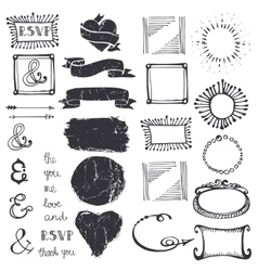 Doodle decor element ampersandcatchword set vector