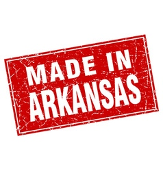 Arkansas red square grunge made in stamp vector