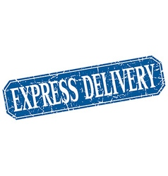 Express delivery blue square vintage grunge vector