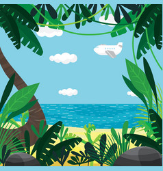 About summer beach plants sea sky vector