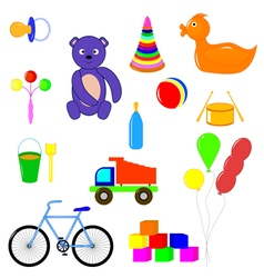 Baby items and toys vector