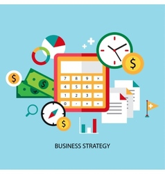 Business strategy planning icon flat set with vector