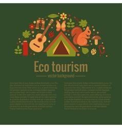 Cartoon eco tourism icons camping set vector