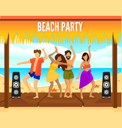 colorful beach party template vector image