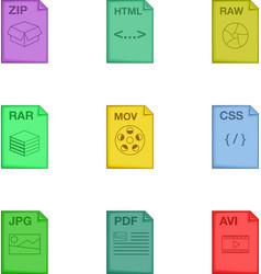 Document icons set cartoon style vector image