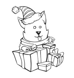 Dog gets Christmas presents vector image