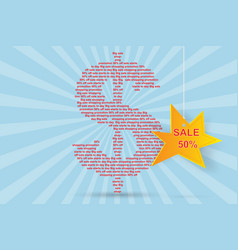 Dollar a character with text and sale banner vector