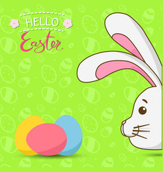 easter bunny with colorful eggs easter rabbit vector image