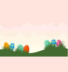 Easter egg on hill vector