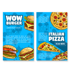 Fast food restaurant burger sketch poster vector