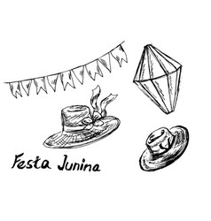 Festa junina hand sketch elements vector