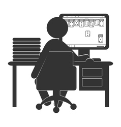 Flat computer icon with card game isolated on vector