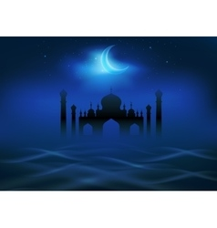 Fog and clouds around islamic mosque vector image