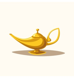 Golden magic lamp fable cartoon vector