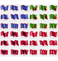 Guam zambia albania turkey set of 36 flags of the vector