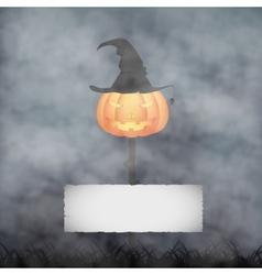 Halloween pumpkin in fog vector
