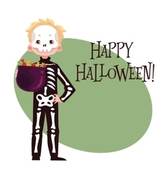Happy boy dressed as skeleton for Halloween vector image