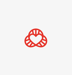 Heart dna logotype lined love science vector