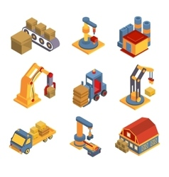 Isometric factory flowchart with robotic machinery vector