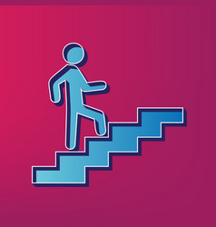 Man on stairs going up blue 3d printed vector