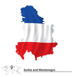 Map of Serbia and Montenegro with flag vector image