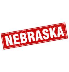 Nebraska red square grunge vintage isolated stamp vector