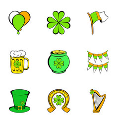 Patrick day icons set cartoon style vector