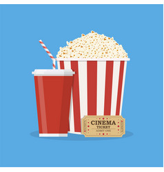 Popcorn with cup of soda and cinema ticket vector