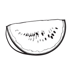 quarter slice of ripe watermelon with black seeds vector image vector image
