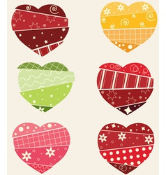 Scrapbook hearts set vector image vector image