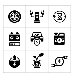 Set icons of electric car vector image