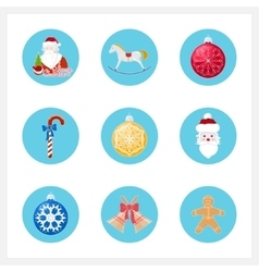 Set of colorful christmas round icons vector