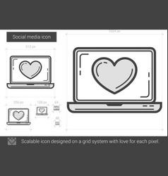 Social media line icon vector