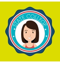 state college student emblem woman vector image vector image