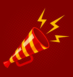striped megaphone on red background vector image vector image