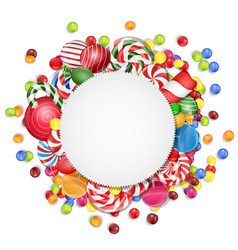 sweets background with frame candies vector image vector image