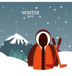 Winter sport jacket clothes and sticks hockey vector