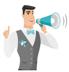 Young caucasian groom making announcement vector