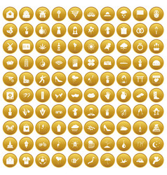 100 flowers icons set gold vector