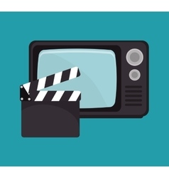 Cartoon clapperboard tv movie design vector