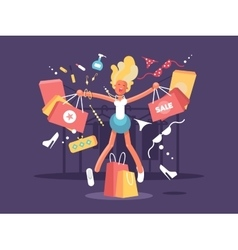 Young blonde goes shopping vector image