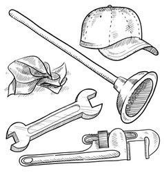 Doodle plumber plunger wrench pipe hat vector