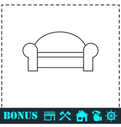 Sofa icon flat vector